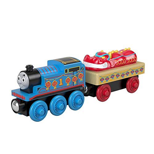 Thomas & Friends Wood Thomas & The Chinese Dragon Wooden Train Engine, Cargo Car, and Dragon Figure