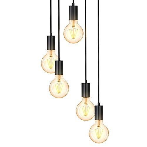 B.K.Licht Lampadario vintage, adatto per 5 lampadine E27 non incluse, altezza totale 1.2 m, Lampada a sospensione per sala da pranzo o cucina, Lampada da soffitto, luci a diverse altezze, nero opaco