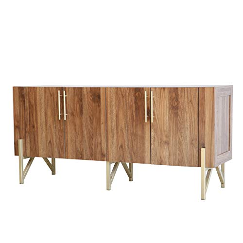 roomfitters Mid Century TV Stand Media Console, Side Board with Gold Legs, Warm Walnut