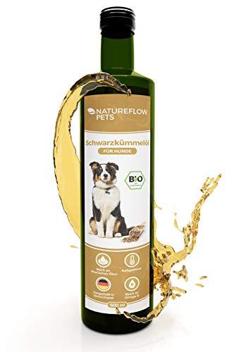 Natureflow Bio Schwarzkümmelöl Hund 500ml - Reines, Kaltgepresstes Bio Schwarzkümmelöl für Hunde - Premium Qualität, Reich an Omega-9 und -6-Fettsäuren und Ätherische Öle