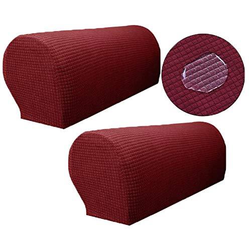 Zuodu Copribraccioli per poltrone, in elastan, elastiche, antiscivolo e impermeabili, confezione da 2 Rosso vinaccia