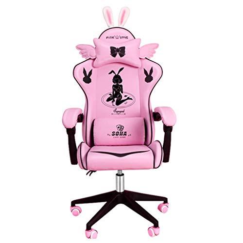 LiKin Silla Gaming Ergonómico para Niña, Reclinable Silla Computadora Sillas de Escritorio Ángulo De Inclinación Y Altura Ajustable (Color : Pink-Black)