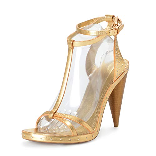 """BURBERRY""""London"""" Women's Gold Leather Ankle Strap High Heels Sandals Shoes Sz US 10.5 IT 40.5"""