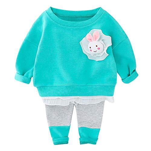 Moneycom❤Toddler Baby Kids Girls Spring Rabbit Ruffles Sweatshirt Tops Pants Set Outfits Bleu Clair(6-12 Mois)