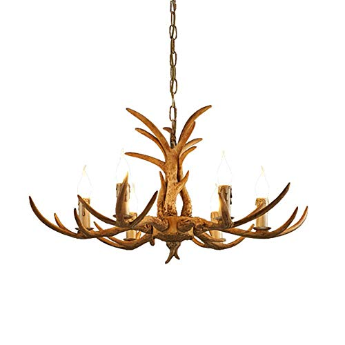 N/Z Home Equipment Lighting 6-Light American Farmhouse Resin Chandelier Lighting Vintage Creative Nordic Pendant Light Classic Candle Ceiling Lamp for Dining Bedroom Brown