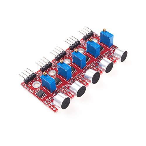 ANGEEK KY-037 4 Pin Voice Sound Detection Sensor Module Microphone Transmitter Smart Robot Car for Arduino DIY Kit Pack of 5