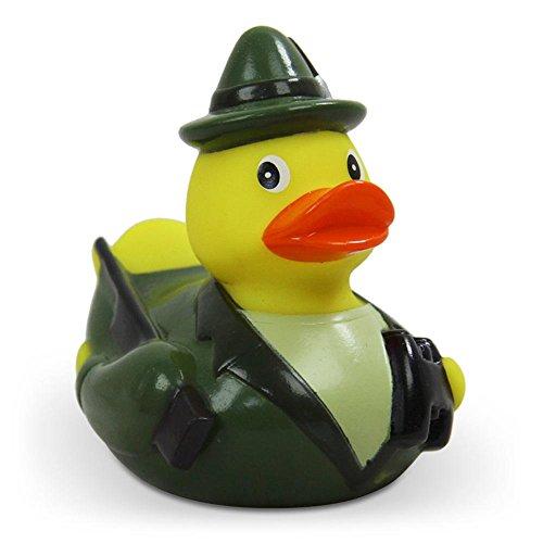 Duckshop I Badeente I Quietscheente I Lustige Badeente Jäger - Quietscheentchen mit Gewehr, Feldstecher und Jagdhorn - Geschenk für jeden Jäger - Jagd - inkl. Badeenten-Schlüsselanhänger im Set