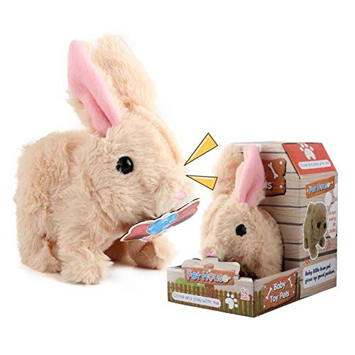 N/L Plüschhase Häschenspielzeug ,Plüsch-Häschen Kleines Plüschtier Hase Stofftier, Plüschtier Batteriebetriebenes Hüpfen Kaninchen Interaktives Spielzeug für Kinder Jungen Mädchen