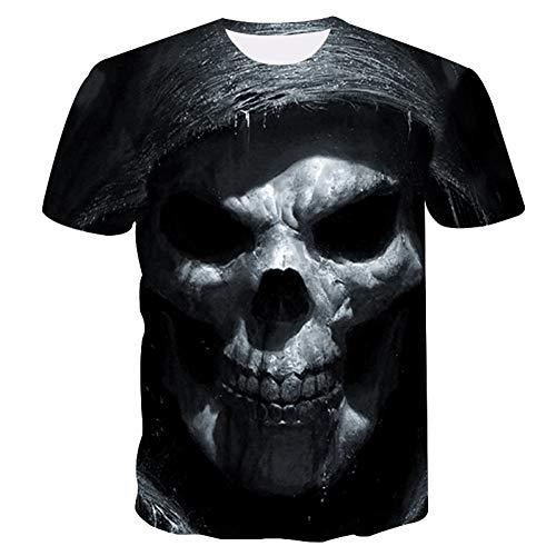 HYTR 3D Camisetas Summer Street Fashion Camiseta De Secado Rápido 3D Skull Cool Camiseta para Hombre Camiseta Casual De Manga Corta 4XL