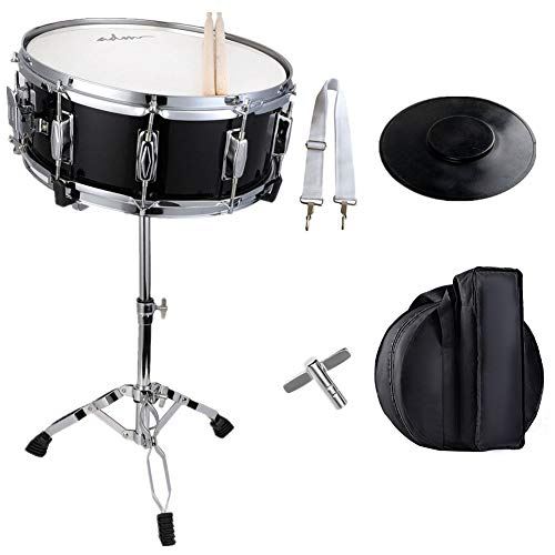 ADM Student Snare Drum Set with Gig Bag, Sticks, Stand & Practice Pad Kit, Black