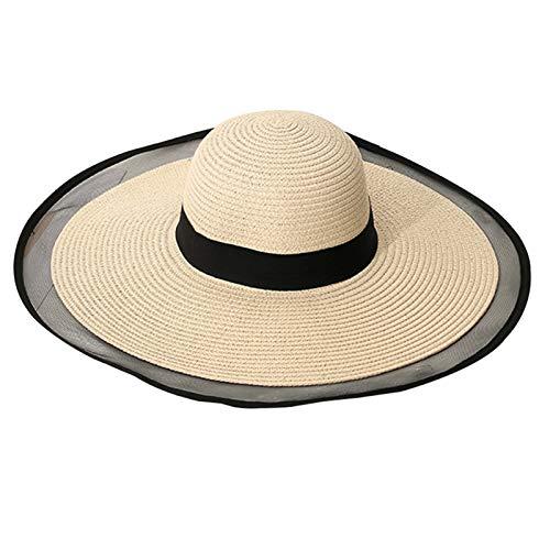 Qingxin Sombrero de sol para mujer, protección UV, sombrero de paja de sol, sombrero de paja para playa, para viajes y playa