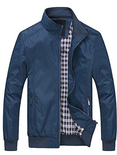 Lavnis Herren Bomberjacke Übergangsjacke Leichte Jacke Casual Mäntel mit Stehkragen (XXX-Large, Style1-Blau)