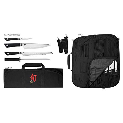 Shun Sora 5-Piece Student Set Including Stainless Chef's 3.5 Paring, 9-Inch Bread, Honing Steel and 8-Slot, Black Nylon Knife Roll for Carrying Convenience