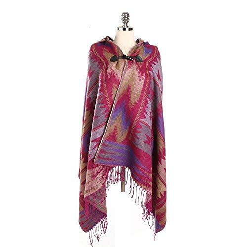 Alvnd Elegante gebreide sjaal poncho vrouwen met franjes met stijlvolle hoornknoppen, V-hals warme wintersjaal 186 * 80cm Colour 6