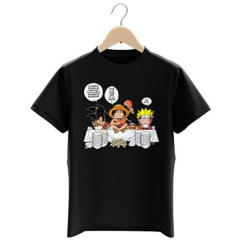 T-Shirt Enfant Garçon Noir Parodie DBZ, One Piece et Naruto - Luffy, Naruto et Sangoku - La Recette d'un Bon Shonen Manga (Super Deformed) (T-Shirt Enfant de qualité Premium de Taille 11-12 Ans - i