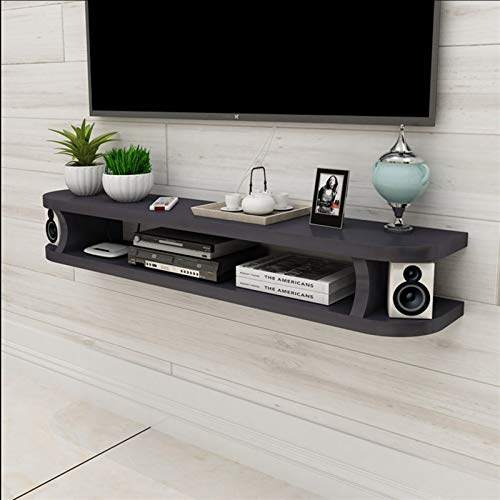 RENJUN Wall Media Console For DVD Blu-ray Player, TV Stand, Satellite TV Box, Cable Box, TV Unit, Floating Frame Wall Mount Shelf (Color : Black, Size : 80cm)