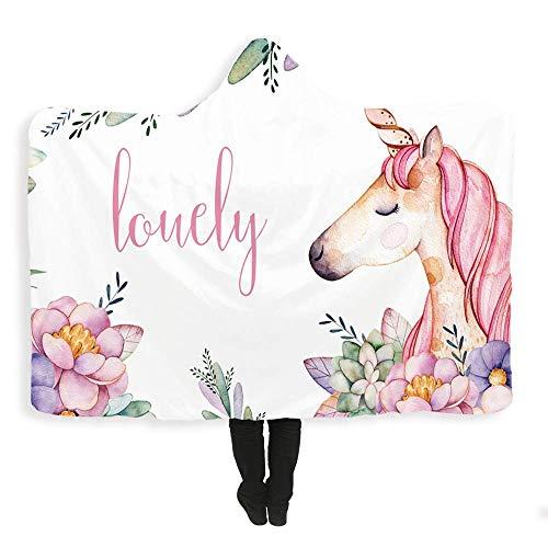 Kind volwassen deken met capuchon, 3D-patroon pluche warme mantel, trein vliegtuig deken en slaapbank deken (50