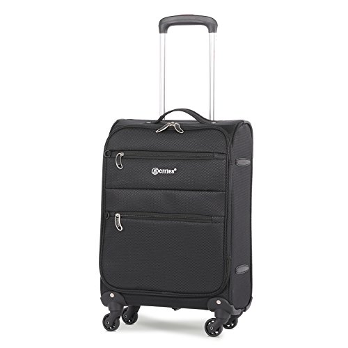 5 Cities Lightweight 55x35x20cm 4 Wheel Spinner Carry On Travel Trolley Hand Cabin Luggage Suitcase, Black