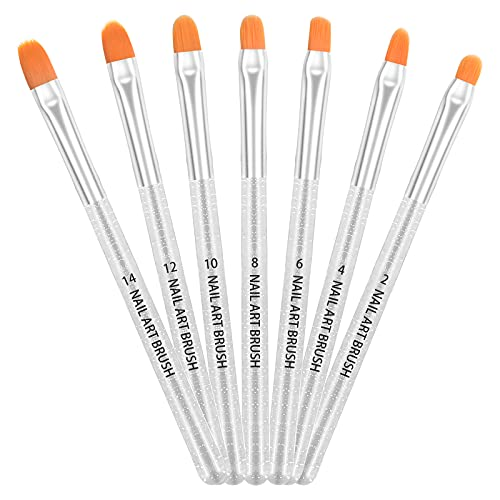 AvoDovA 7 Pezzi Pennelli per Unghie Set, Pennello Gel Unghie, Gel UV e Spazzola di Arte del Chiodo per Unghie in Acrilico, Spazzola per Ricostruzione Unghie Gel UV per Pittura Penna Strumento (B)