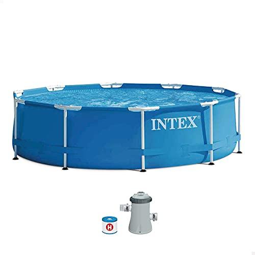 Intex 28202NP Piscina redonda Metal Frame, con depuradora, 305X76 cm 4485 litros