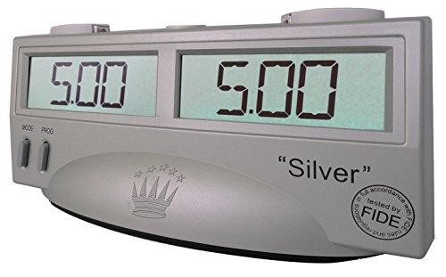 SchachQueen – schach queen_E410 – ChessTimer 'Silver' - Chronomètre d'Échecs Électronique Certifié Pour la FIDE - 19.5 x 8,5 x 9 cm - Gris