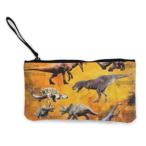 Yuanmeiju Monedero Unisex, monederos, Dinosaurios Monedero de Lona para Mujer Mini Monedero con Cambio de Billetera, Tarjetero, Billetera para teléfono, Bolsa de Almacenamiento