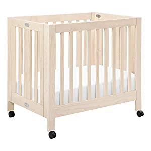 Babyletto Origami Mini Portable Crib with Wheels in Washed Natural, 2 Adjustable Mattress Positions, Greenguard Gold Certified