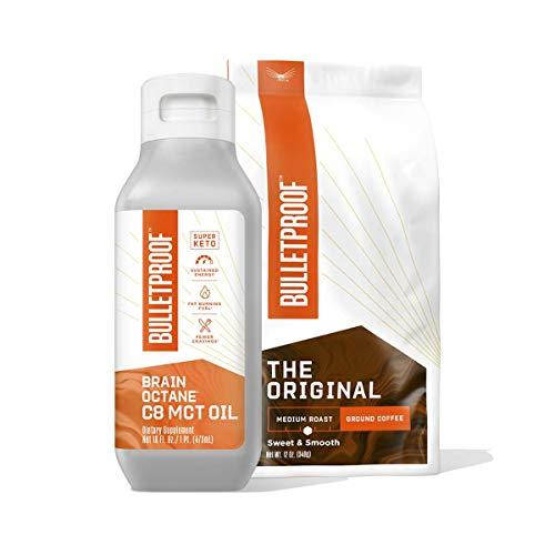 Bulletproof Coffee Duo Kit — The Original Medium Roast Ground Coffee - 12 Oz, Premium 100% C8 MCT Brain Octane Oil - 16 Oz, Bulletproof Keto Supplements for Sustained Mental & Physical Energy