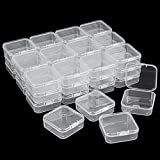 Kingrol 36 Pack Mini Clear Plastic Storage Containers with Lids, 2.16 x 2.16 x 0.78 Inch Empty Hinged Boxes for Beads, Jewelry, Tools, Craft Supplies, Flossers, Fishing