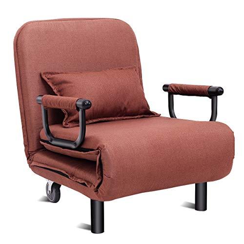 Costway Convertible sofá Cama Plegable Silla del Brazo Cama reclinable Ocio Salón Sofá (Color : Brown)