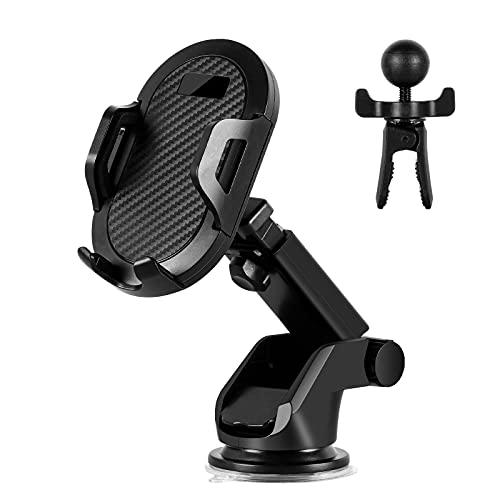 Alishomtll Handyhalter fürs Auto, 2 in 1 Schwarze Handyhalterung Auto Lüftung & Saugnapf Halterung 360°Drehbar Universale Autohalterung für iPhone 11 12 Pro/Huawei/Samsung/Xiaomi usw