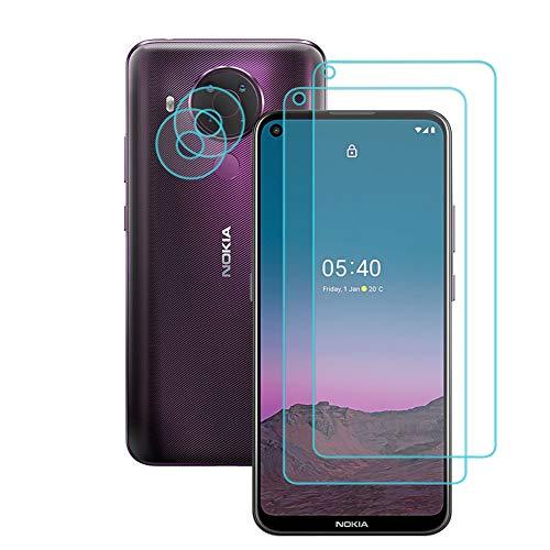 Fitudoos 2 Stück,Panzerglas Schutzfolie+Kamera Panzerglas [2 Stück] für Nokia 5.4, völlige Abdeckung,9H Festigkeit,0.33mm Ultra-klar,[Anti-KratzenFrei & Öl],[No-Bubble]