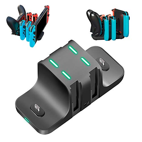 【6in1スイッチ用充電スタンド】Nintendo switch 充電スタンド Joy-Con充電 Proコン対応 6台同時充電可能 急速充電器 収納 一体型 Switchと4つJoy-Con同時に充電 コントローラー充電 取り付け簡単 充電ホルダー