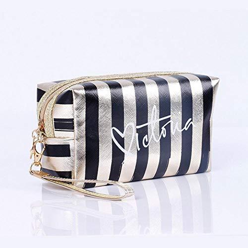 Sacs à cosmétiques Mode Cuir Femmes Make Up Bag PVC Pouch Wash Organisateur de Voyage Case 18.5 * 7.5 * 10.5cm-Black_18.5 * 7.5 * 10.5cm