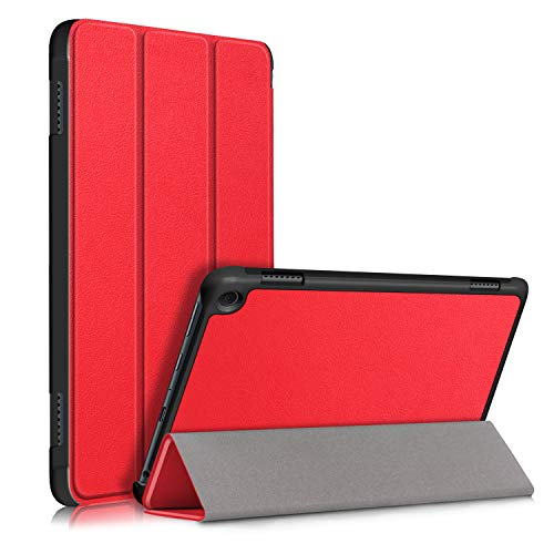 Fire HD 8 2020 Flip Funda,Heavy Duty Estuche Case Billetera Cover Cierre Magnético Caso Tapa con Auto Wake Up/Sleep Cubrir Shell para Amazon Fire HD 8 2020/Fire HD 8 Plus 2020 Tablet (Rojo)