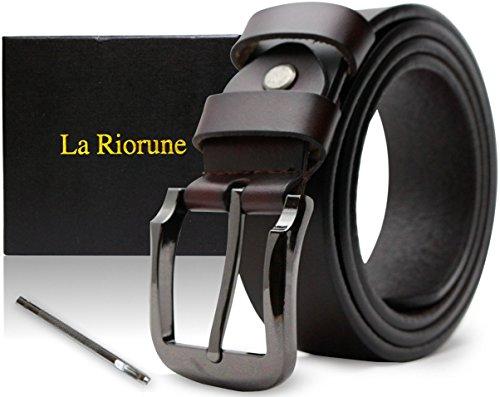 Riorune メンズ ベルト 本革 レザー カジュアル ビジネス (ブラウン)