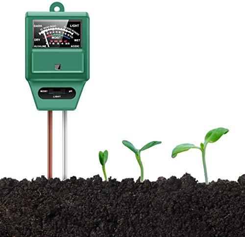 Soil pH Meter, Soil Moisture/Light/pH Tester Gardening Tool Kits for Plant Care, 3-in-1 Soil Test kit Great for Garden, Lawn, Farm, Indoor & Outdoor Use (Green)