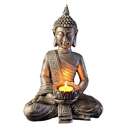 perfk Buddha Yoga Kerzenhalter Tabletop Teelicht Decor Statuen Hause Büro Sammeln Figuren für Entspannende Geschenk - C