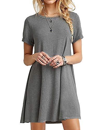 YOINS Sommerkleid Damen Tunika Tshirt Kleid Bluse Kurzarm MiniKleid Boho Maxikleid Rundhals Grau EU40-42, L