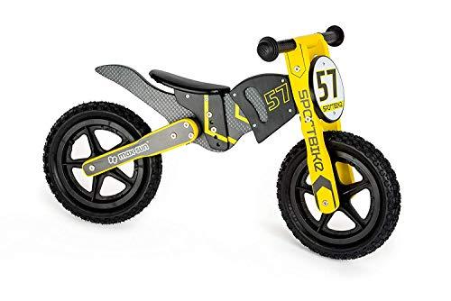 Small Foot 10739 Motocross Bike, höhenverstellerbarer Laufrad aus Holz im Motorcross-Design, dreifach Verstellbarer Sitz mit weichem Sattel, trainiert den Gleichgewichtssinn, ca. 85 x 37 x 50 cm