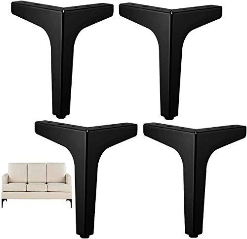 Schwarze Möbelfüße, DIY Metall Möbelbeine, 4 austauschbare Möbelfüße, geeignet für Schrankfüße, Sofafüße, Couchtischfüße, TV-Schrankfüße und andere Möbel (15 cm)