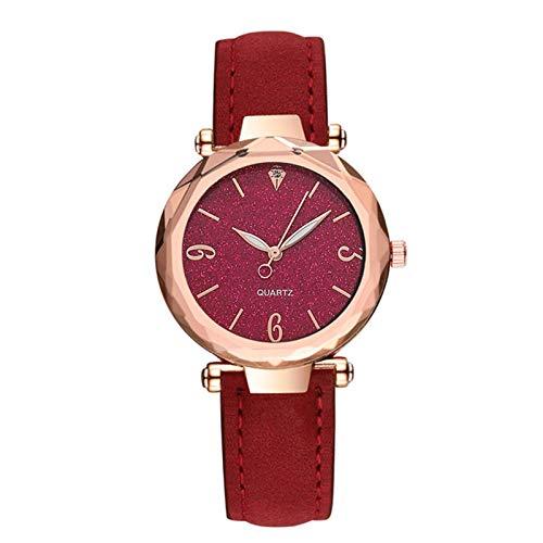 QHG Cuarzo de Cuero Reloj de Mujer Reloj de Moda Mujeres Relojes de Pulsera Reloj de Lujo Reloj de Pulsera Casual Mujer (Color : I)