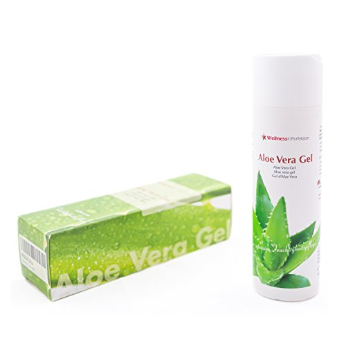 Natürliches Aloe Vera Gel für Haut 200 ml von WellnessInPerfektion WIP GmbH I Feuchtigkeitspflege Hautgel Naturkosmetik Körpergel Feuchtigkeitsgel Gesichtspflege I Bio Hautpflege vegan, fettfrei