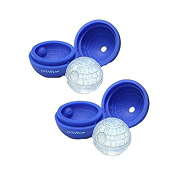 WllRun 2 Packs Star Wars Death Star Silicone Ice Cube Mold Tray,Chocolate Maker Tools,Ice Ball Shape for Drinks Blue