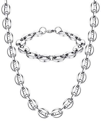 BESTEEL 11MM Edelstahl Halskette Armband Set für Herren Damen Silber Gold...