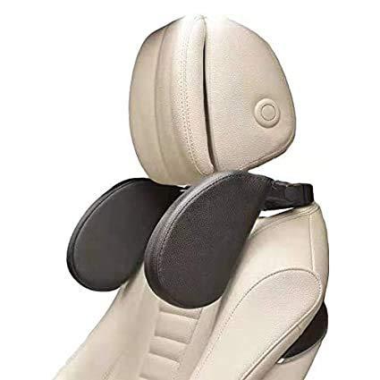 Car Seat Headrest Pillow, Premium Memory Head Support Detachable (Black)