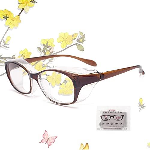 JIMMY ORANGE 花粉 メガネ ゴーグル [ブルーライト 紫外線 粉塵 飛沫 にも対策 ] 目立たない 伊達めがね 曇らない レディース メンズ 眼鏡102 花粉症 メガネ(ブラウン)