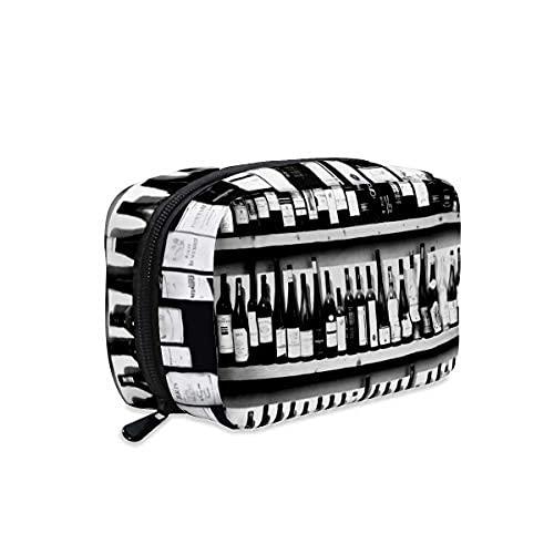 Botellas de vino Bolsa de maquillaje con cremallera, bolsa de aseo de viaje, accesorios cosméticos organizador monedero grande portátil para mujeres y niñas