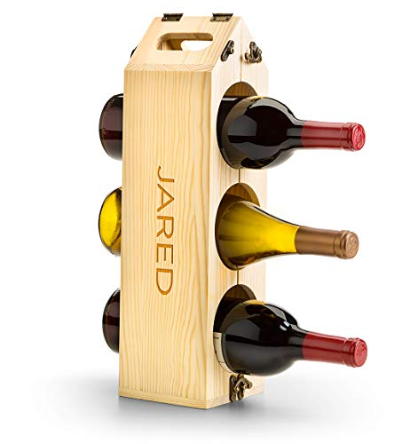 GiftTree Personalized Wood Wine Rack | Wine Carrier Converts to 12 Bottle Wooden Wine Rack | Engrave up to 14 Characters - Perfect Wine Lover's Gift