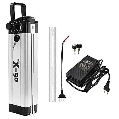 X-go batería Bicicleta eléctrica 36v36 V 10 Ah batería de Iones de Litio, Placa de protección 20A BMS, Bicicleta eléctrica Adecuada para 200W 250W 350W (con Cargador)